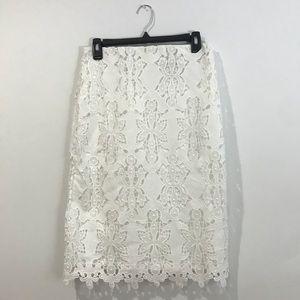 White Lace H&M Midi Skirt